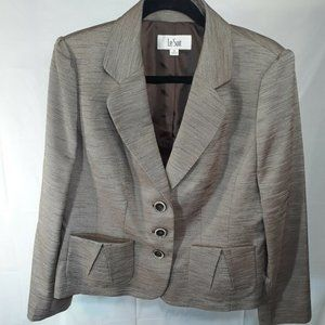 NWT Le Suit Women's Suit Blazer Jacket Tan